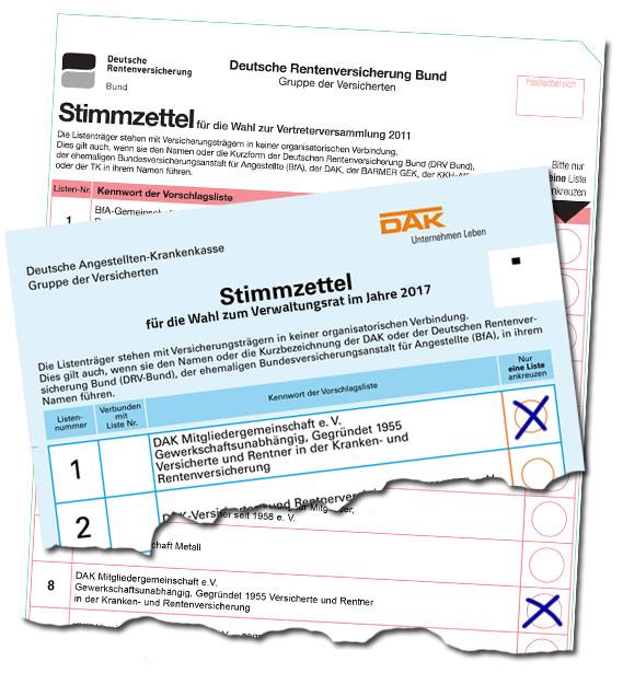 Beispielhafter Stimmzettel zur Sozialwahl 2017