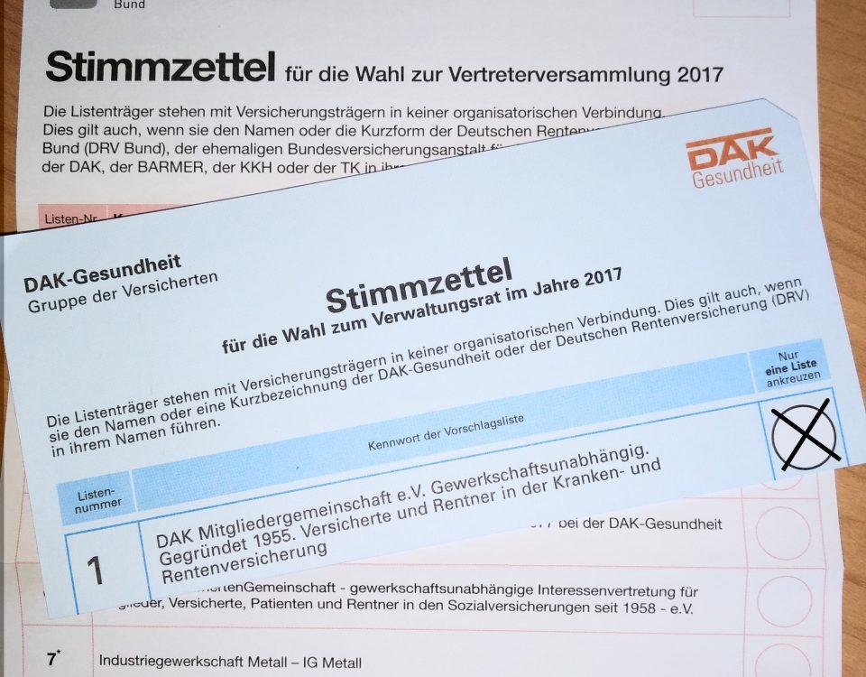 Wahlzettel der Sozialwahl 2017
